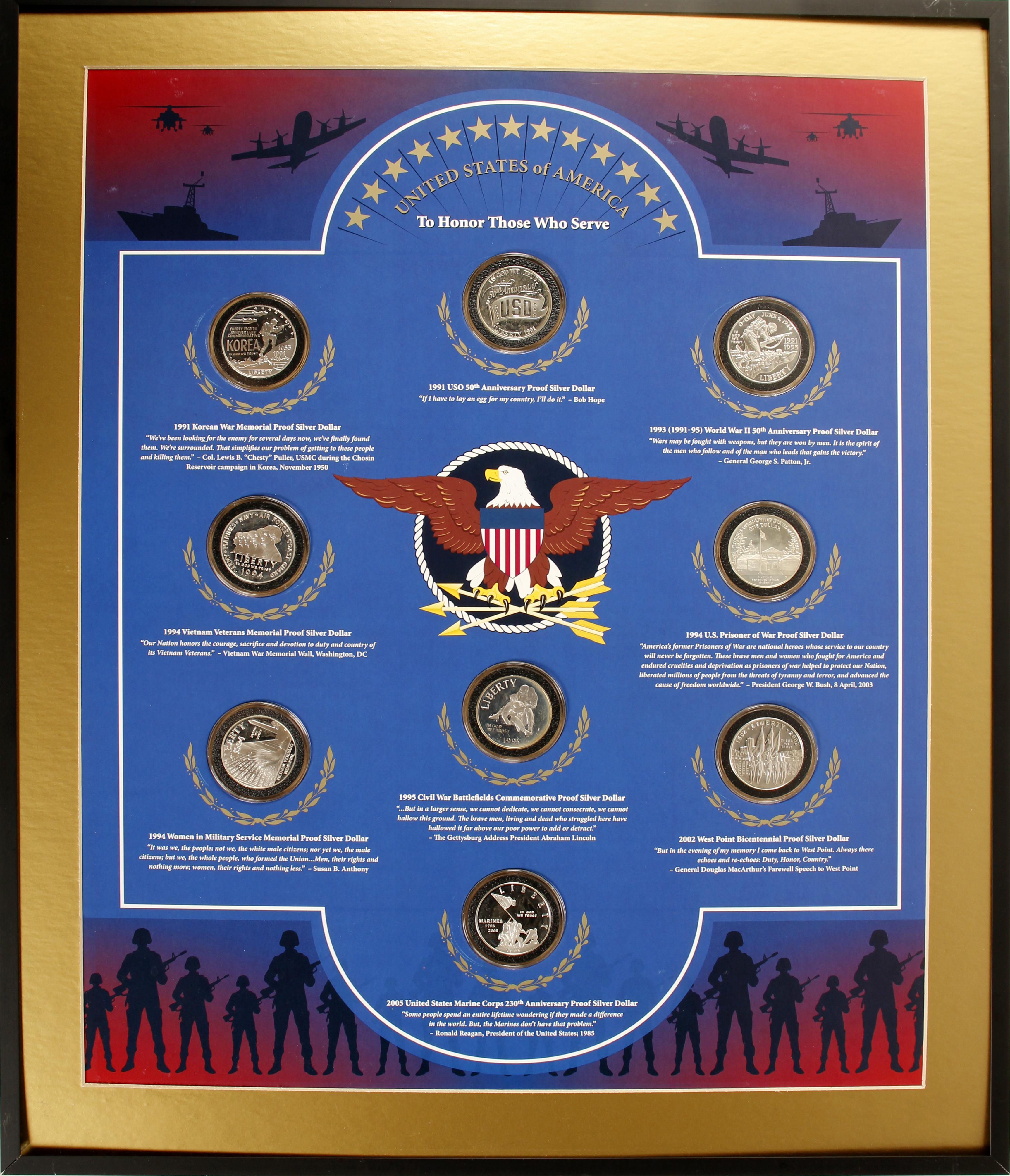 Framed Set of 9 Silver Coins Honoring US Military Veterans, Set #2/4 (77125)
