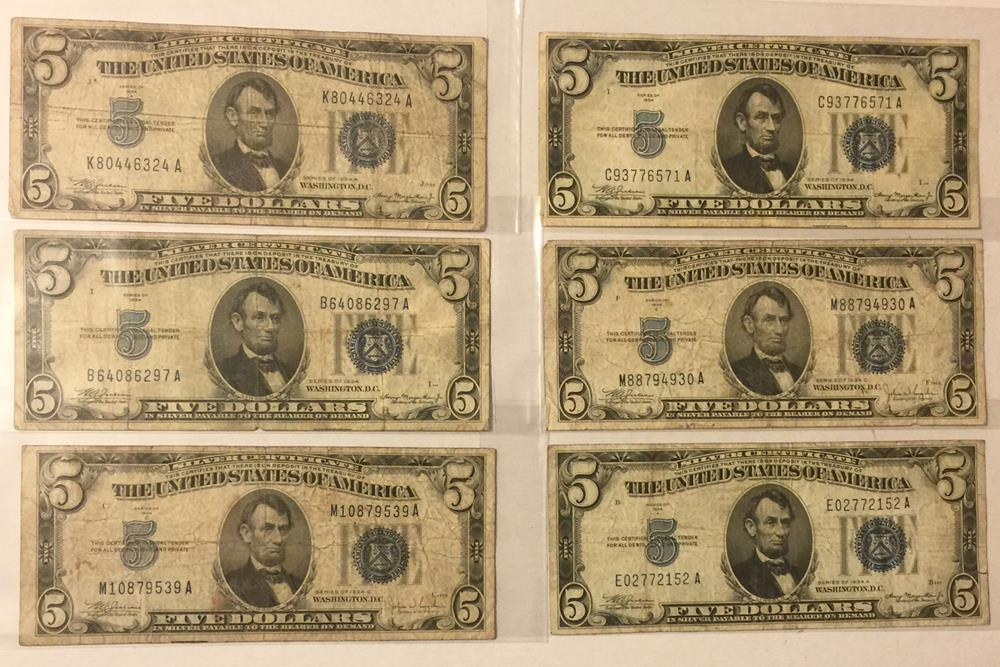 1934 5 Five Dollar Silver Certificate Blue Seal Banknotes Lot Of 6
