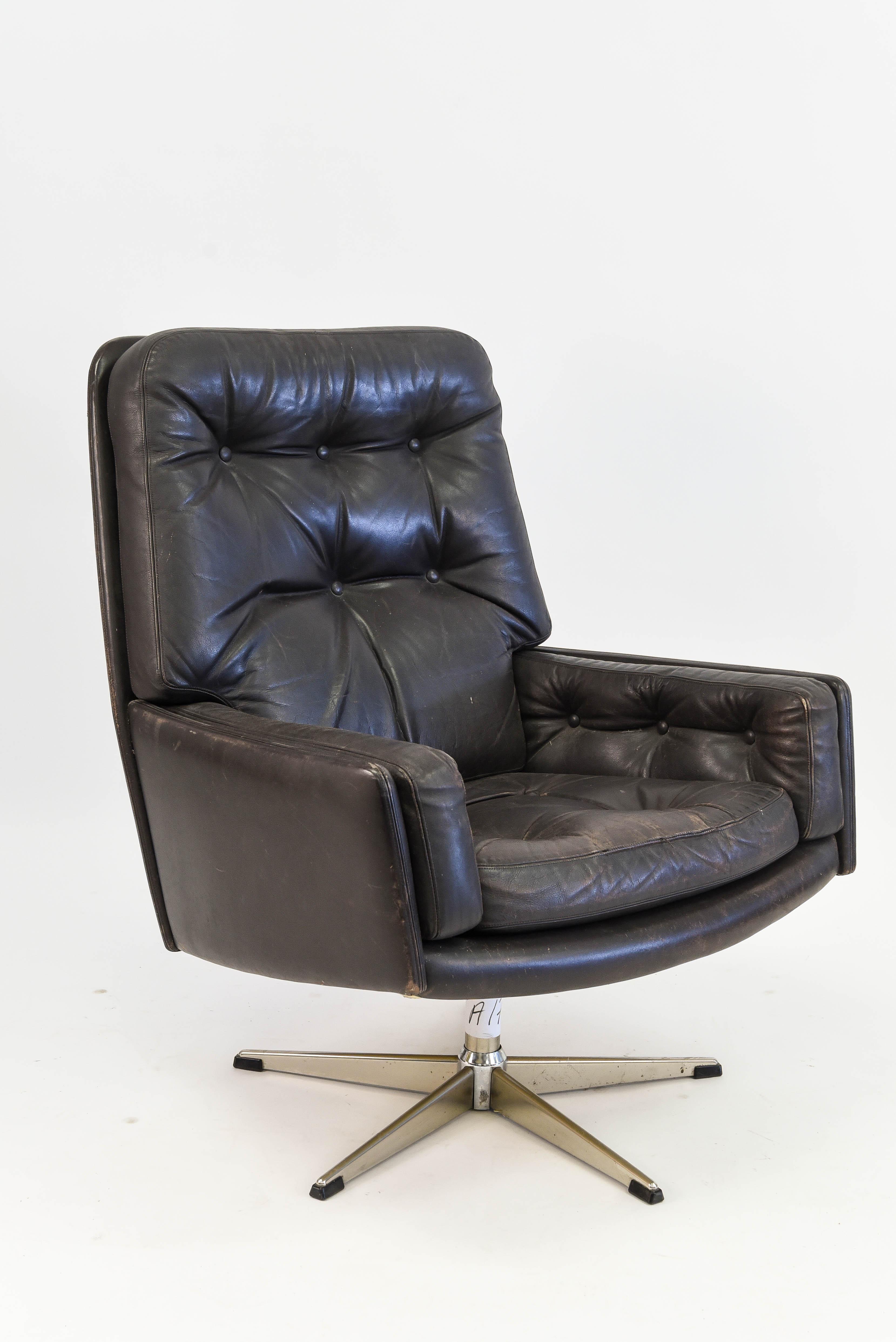 Danish Brown Leather Executive Swivel Chair