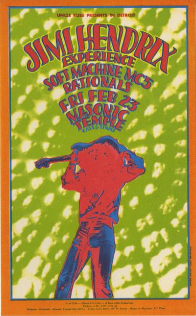 Near Mint Jimi Hendrix Masonic Temple Handbill – Lofty Marketplace