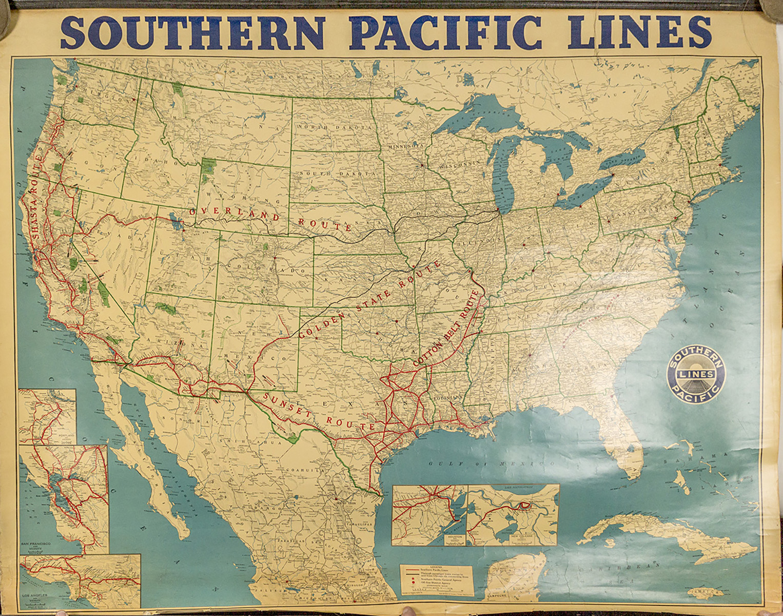 Us Southern Pacific Railroad Wall Map 1952 Lofty Marketplace