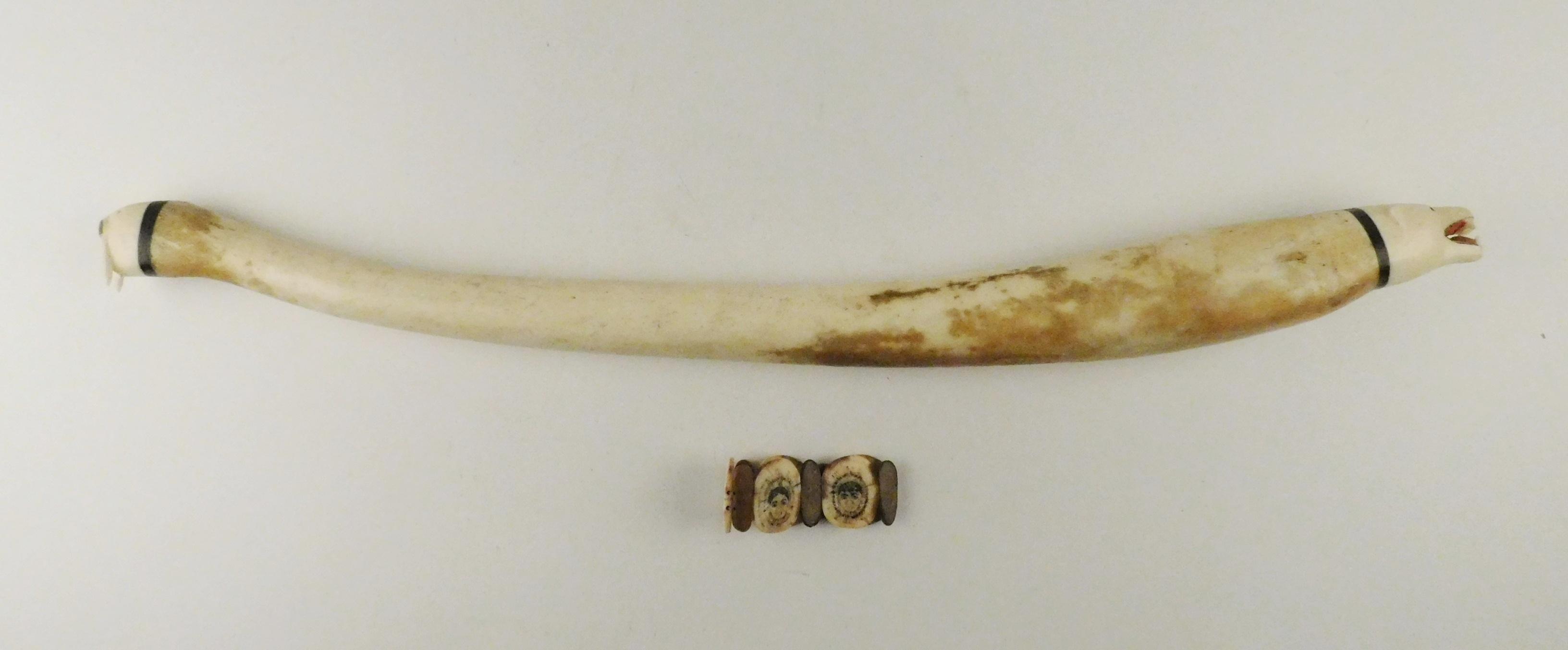 Walrus Oosik carving and Inuit bracelet