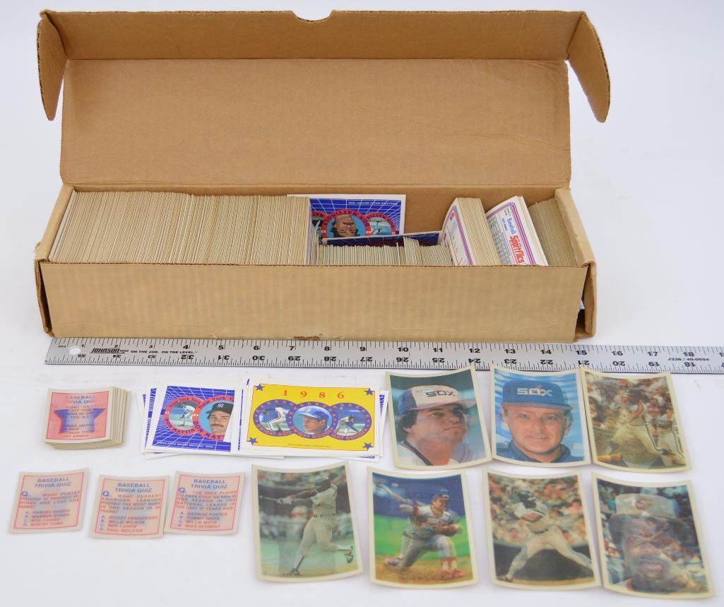 Near Complete Set Of 1986 Sportflics Baseball Cards