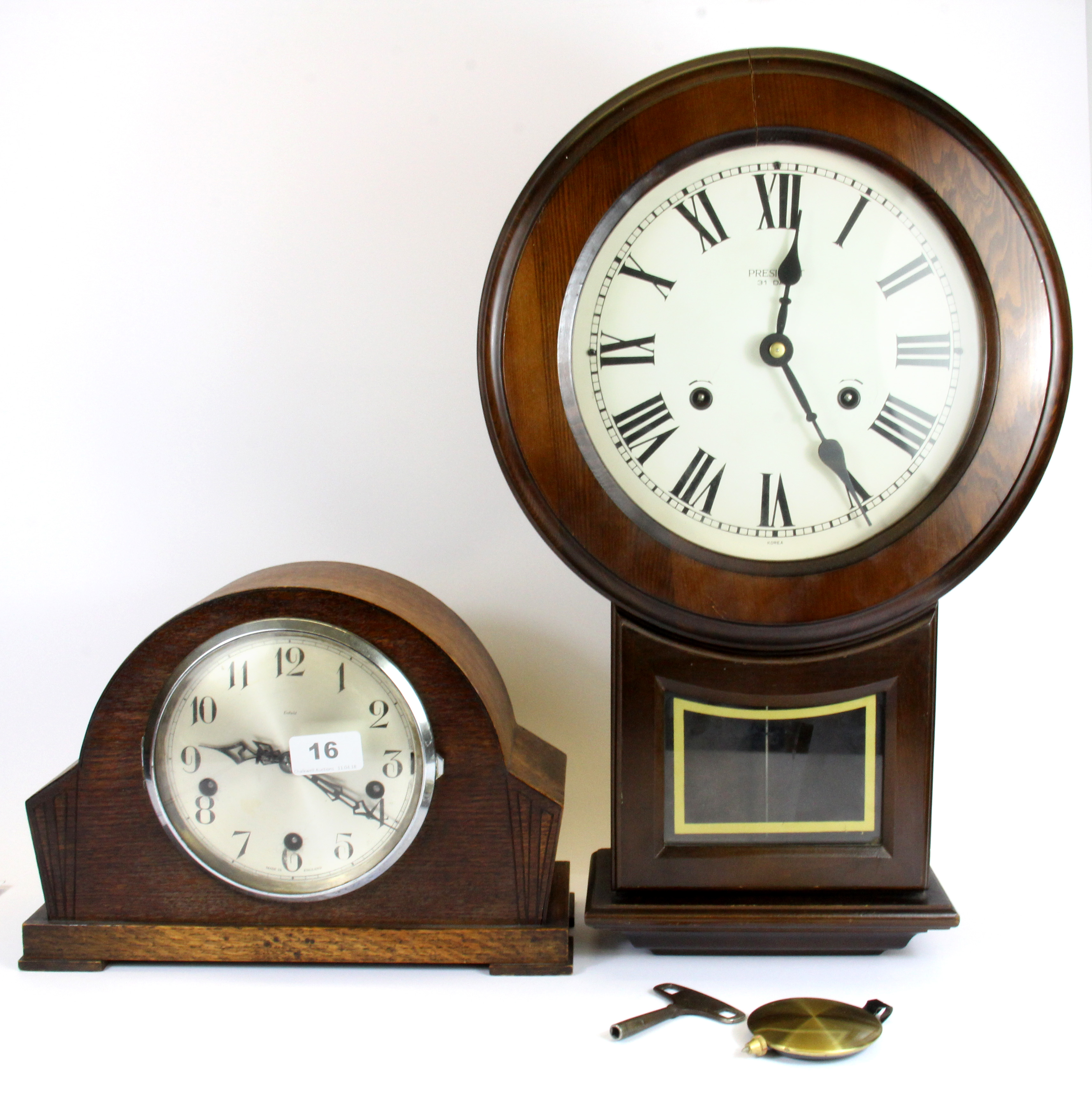 A Chiming Oak Enfield Mantle Clock And A President Thirty One Day Wall Lofty Marketplace
