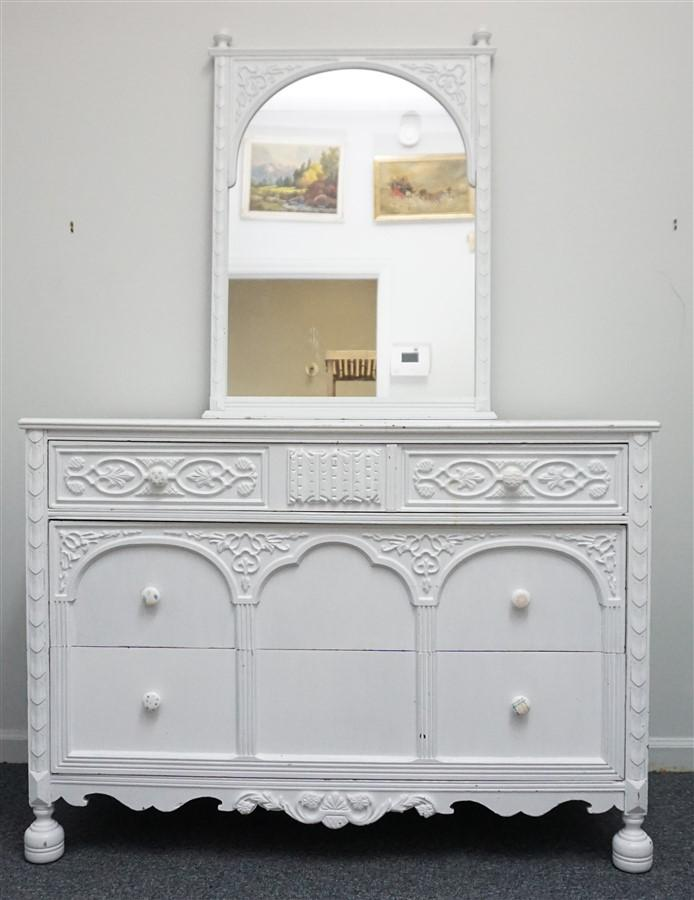 Gothic Painted 3 Drawer Chest W Mirror Lofty Marketplace