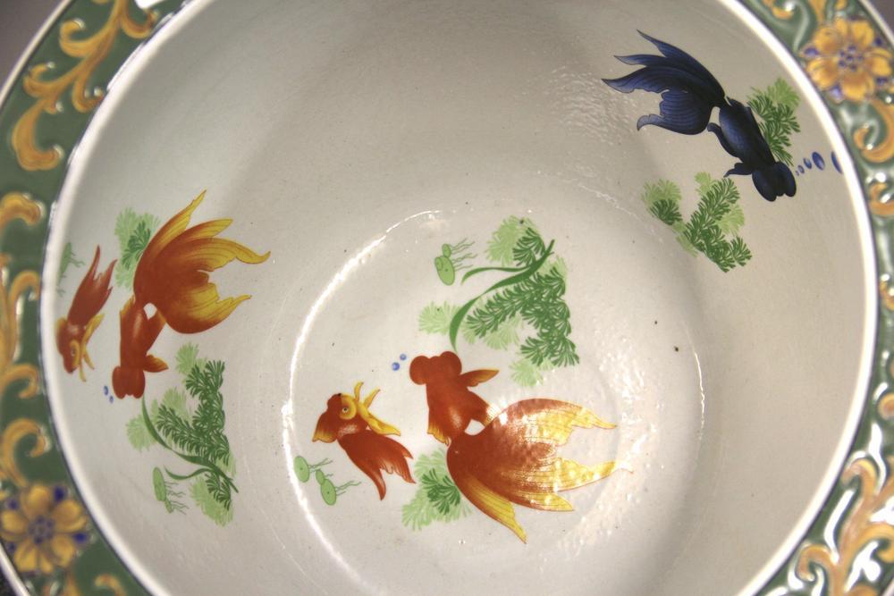 An Art Nouveau Design Chinese Porcelain Fish Bowl On A Wooden Stand H 48cm