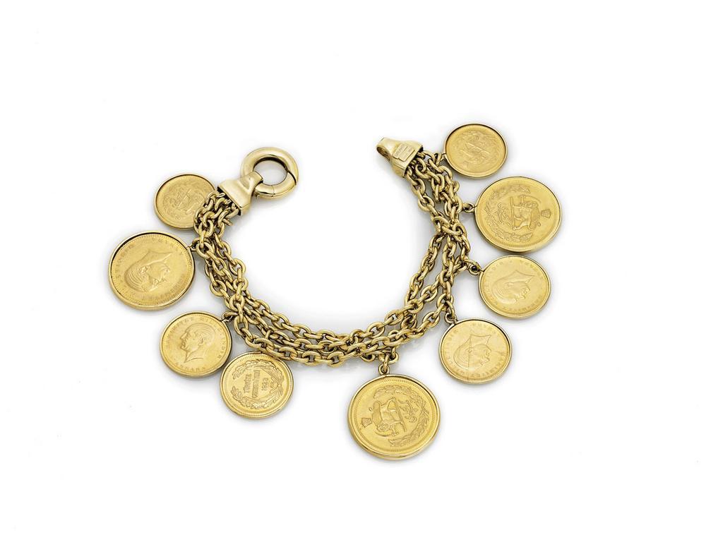 Turkish Iranian Gold Coin Charm Bracelet