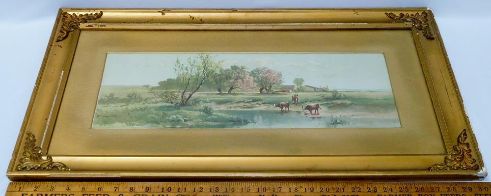 W Carlton Cows Grazing Country Landscape Chromolithograph Print Framed C 1890