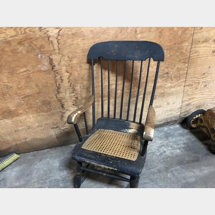 Remarkable Vintage Wicker Seat Rocking Chair Forces Time Capsule Auction Machost Co Dining Chair Design Ideas Machostcouk