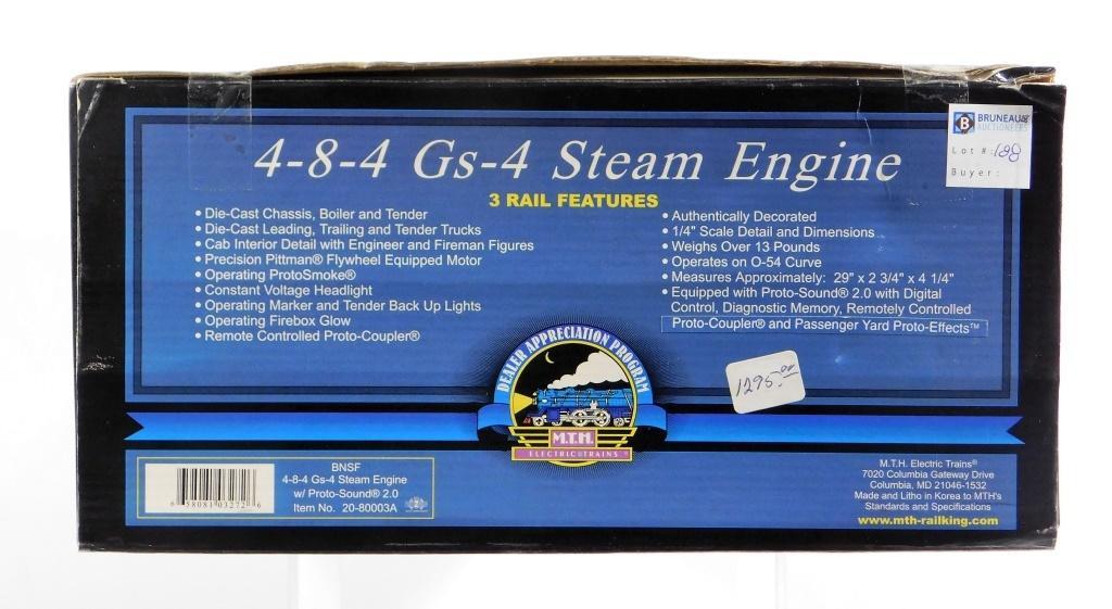 MTH BNSF 4-8-4 Gs-4 Steam Engine O Gauge Train | Bruneau and Co