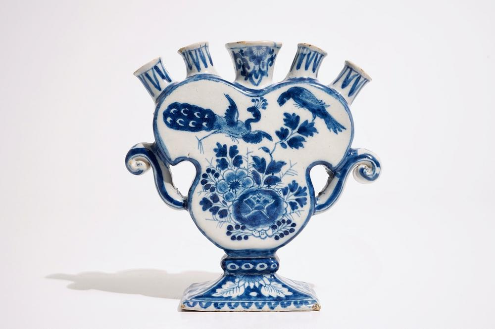 A Dutch Delft Blue And White Heart Shaped Tulip Vase 18th C