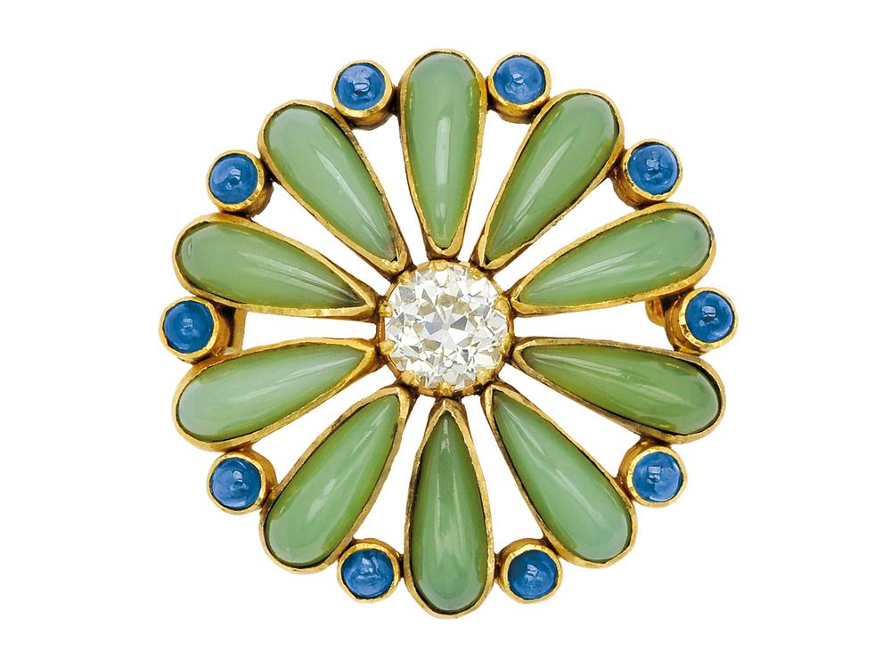 circa by flower silver italy sapphire mario and brooch brooches diamond karat gold buccellati