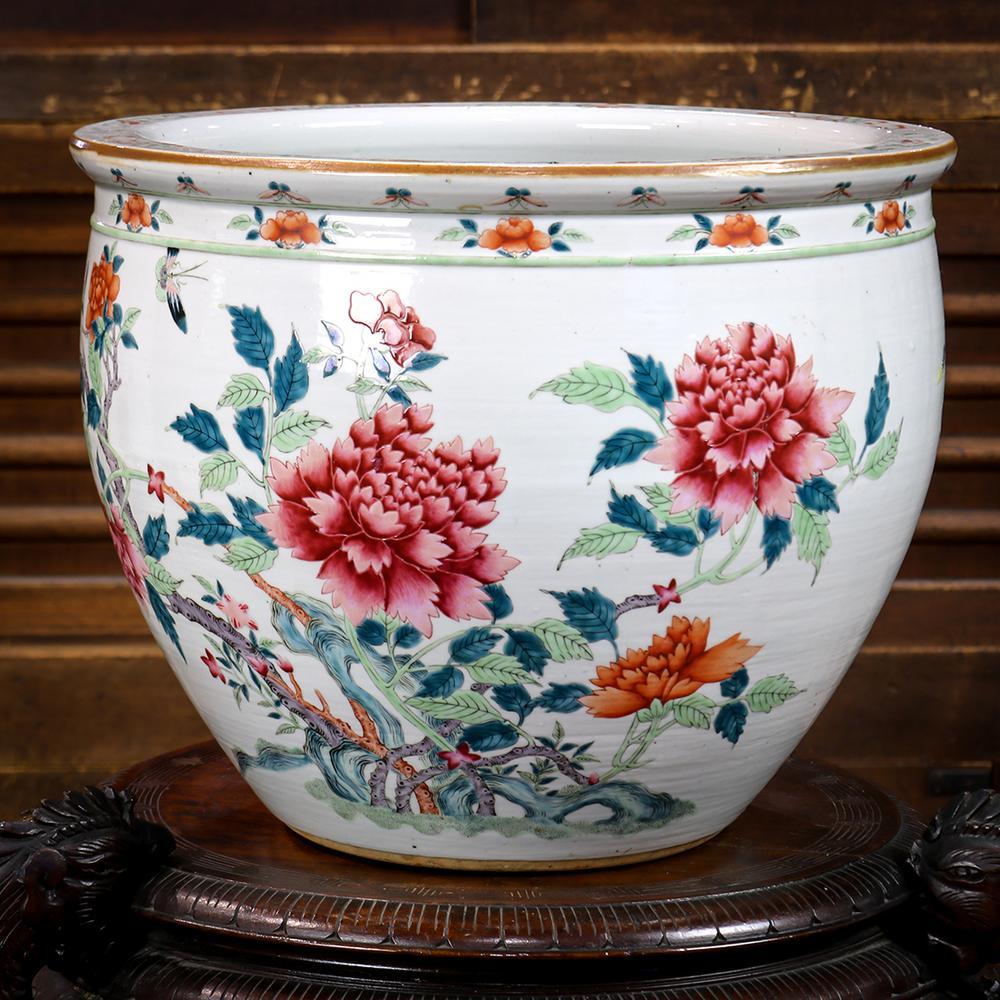 Chinese Porcelain Fish Bowl Peonies