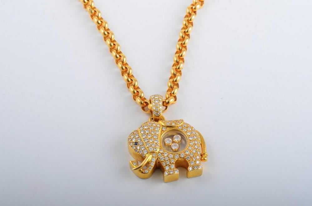 Chopard 18ct Happy Diamond Elephant Pendant Necklace