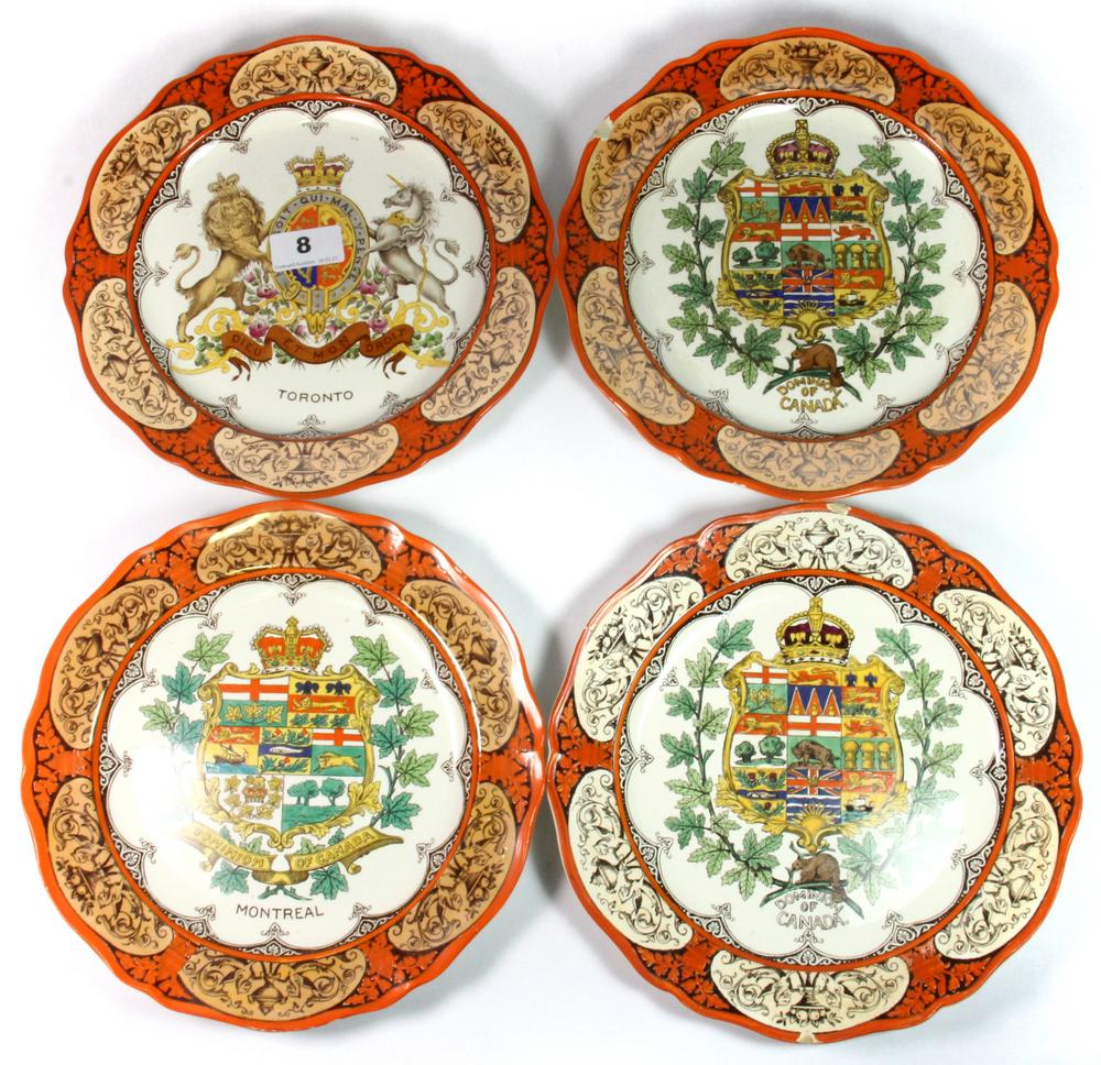 four rare wedgwood plates depicting the canadian coat of arms for