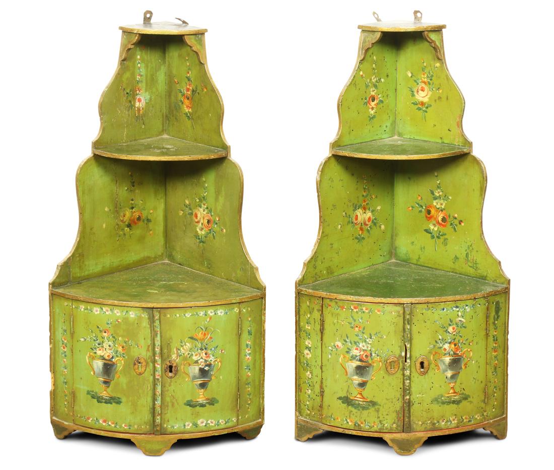 Pair of Louis XV style green painted wood corner etageres