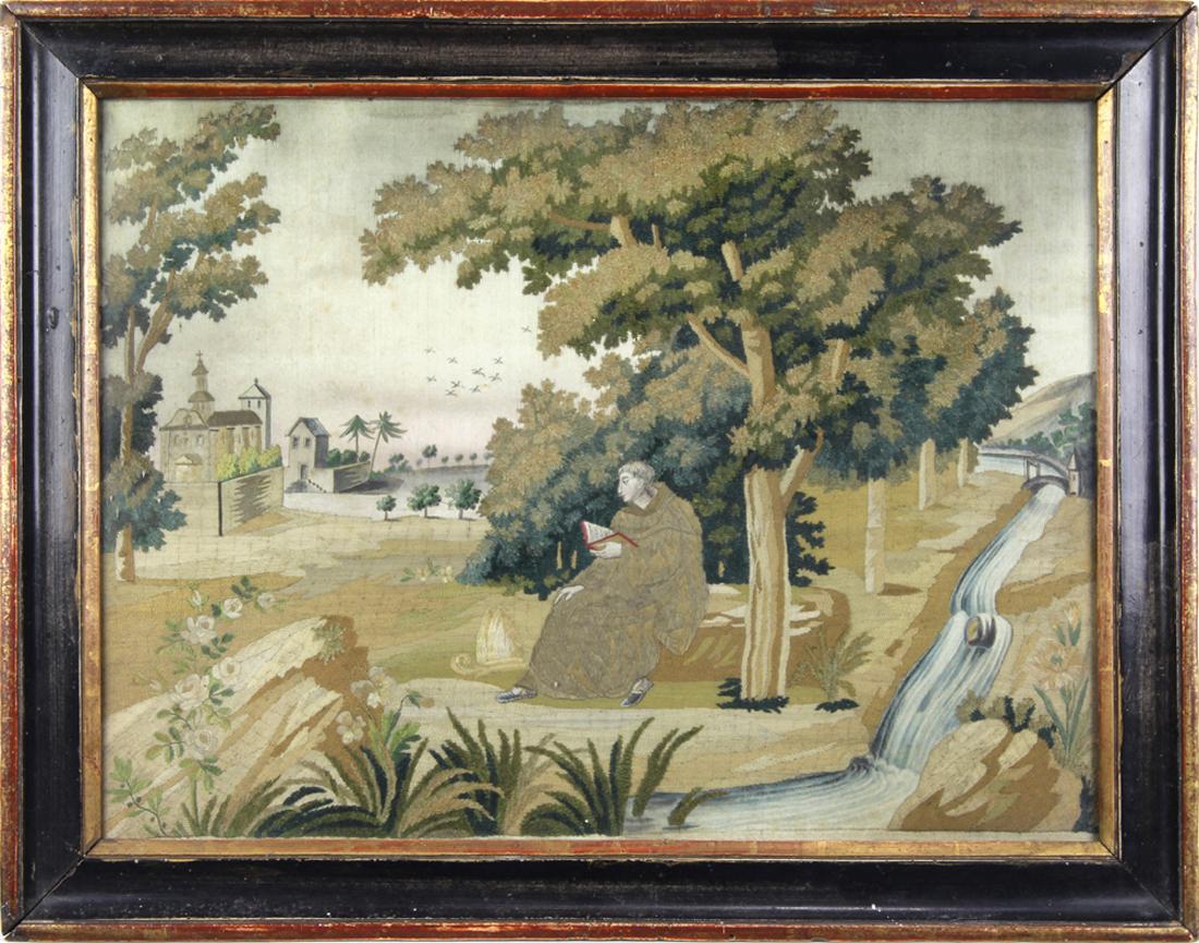 Silk and needlework scenic panel