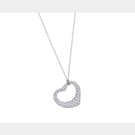 fc76f11131ef0 Platinum and diamond 'Open Heart' pendant necklace, Elsa Peretti for ...