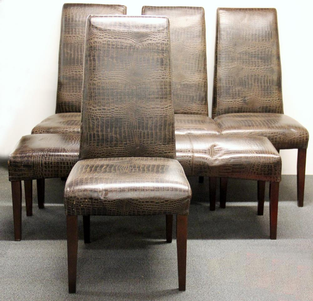 Pleasing A Set Of Four Crocodile Skin Pattern Leather Upholstered Dining Chairs And Matching Stool Creativecarmelina Interior Chair Design Creativecarmelinacom