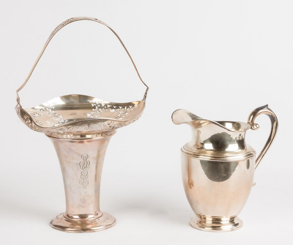 taille 40 9bcea 9f2ce R. Wallace and Sons Sterling Basket & Preisner Sterling Pitcher