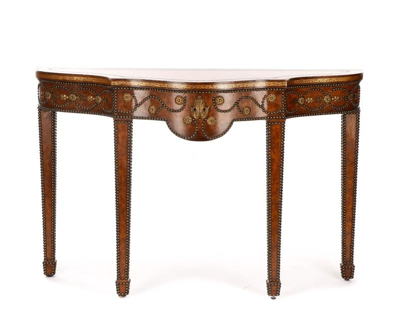 Maitland Smith Brown Leather Studded Console Table