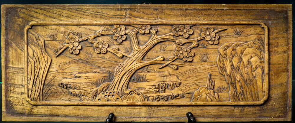 Chinese Carved Wood Panel Prunus