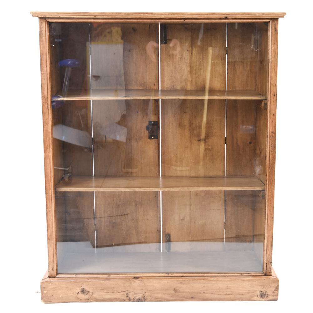 Sensational Antique Pine Glass Display Cabinet Download Free Architecture Designs Remcamadebymaigaardcom