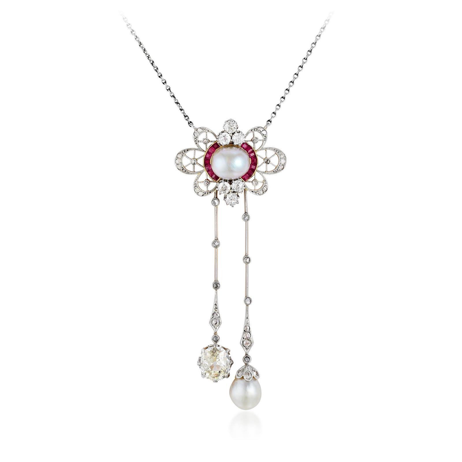 03c149fab Edwardian Platinum-Topped 18K Gold Natural Pearl Diamond and Ruby ...