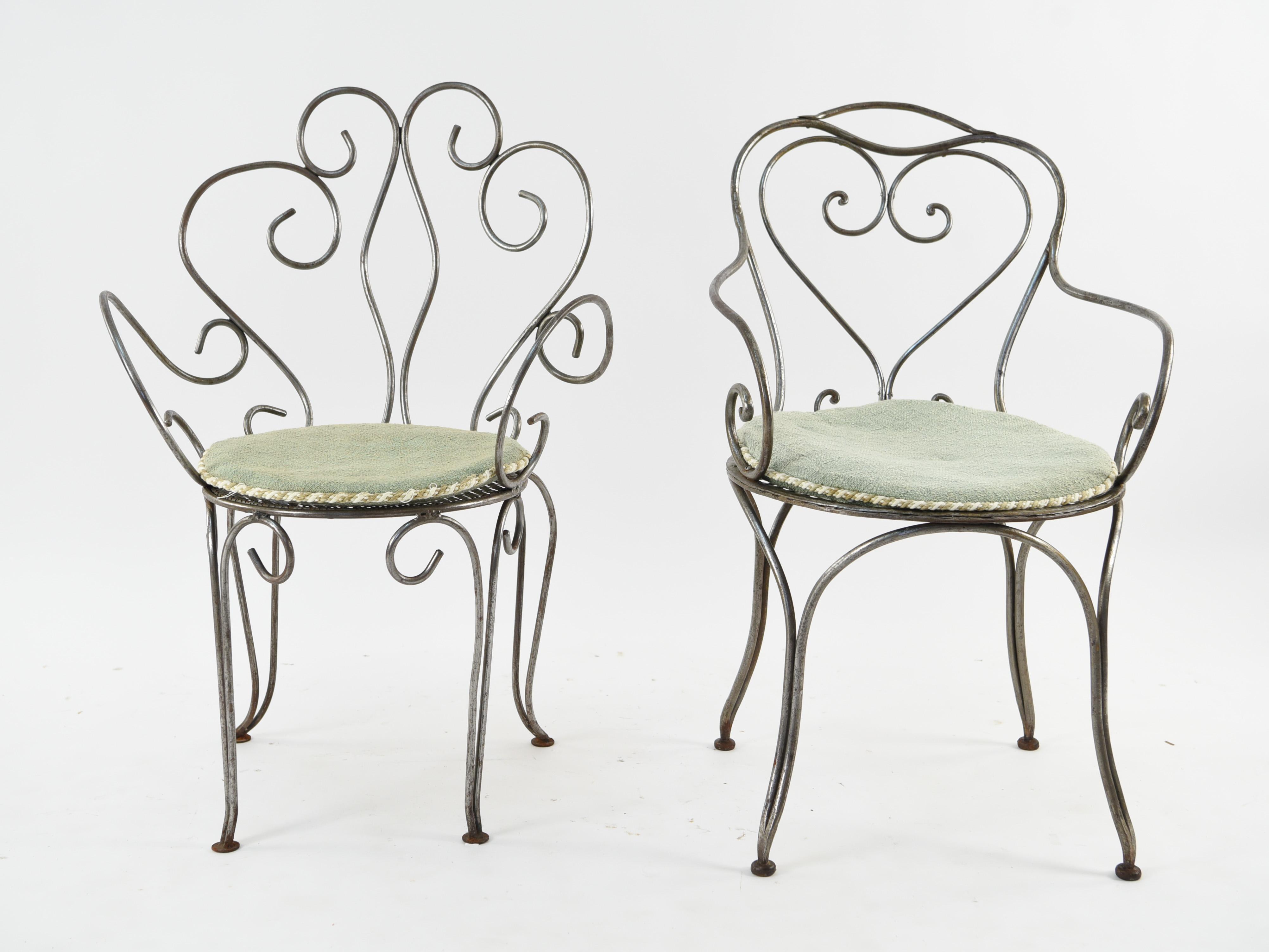 Woven metal furniture Rocker 2 Scrolling Iron Chairs W Woven Metal Seats The Home Depot 2 Scrolling Iron Chairs W Woven Metal Seats Lofty Marketplace