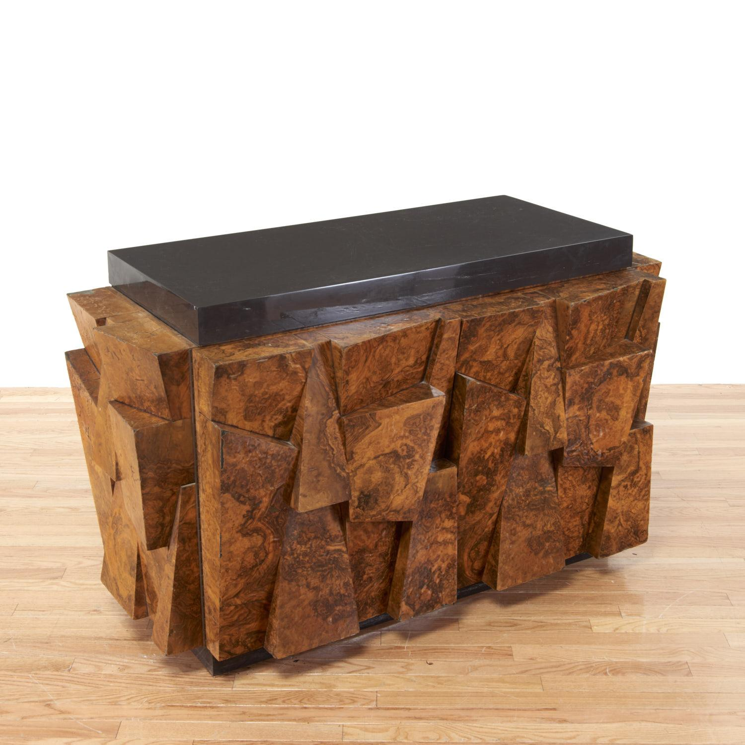 Amazing Paul Evans Faceted Burl Wood Cabinet