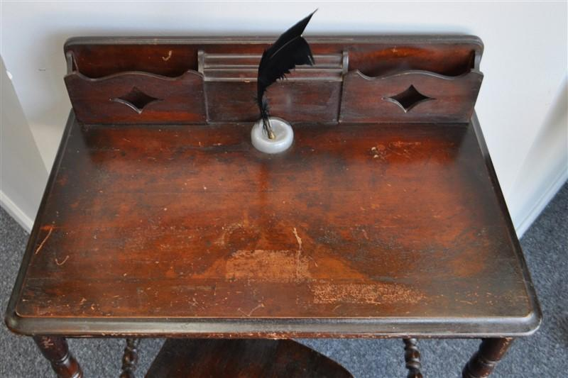 ANTIQUE SCHOOL DESK WITH INKWELL INSERT - ANTIQUE SCHOOL DESK WITH INKWELL INSERT – Lofty Marketplace