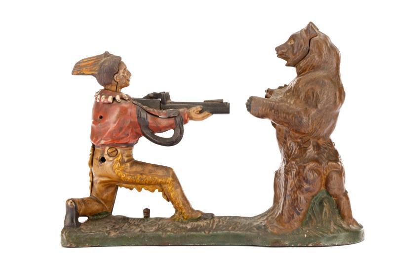 Native American & Bear Mechanical Coin Bank