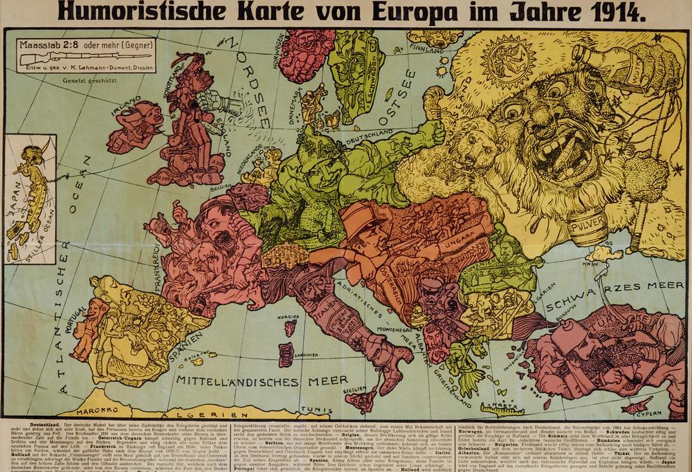 Karte Von Europa 1914.Humoristische Karte Von Europa Im Jahre 1914