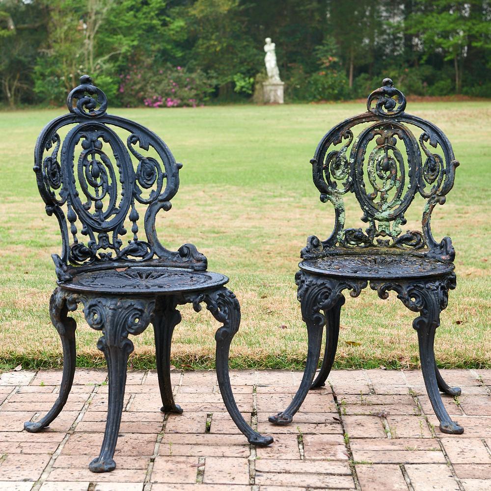 Pair Victorian cast iron garden chairs