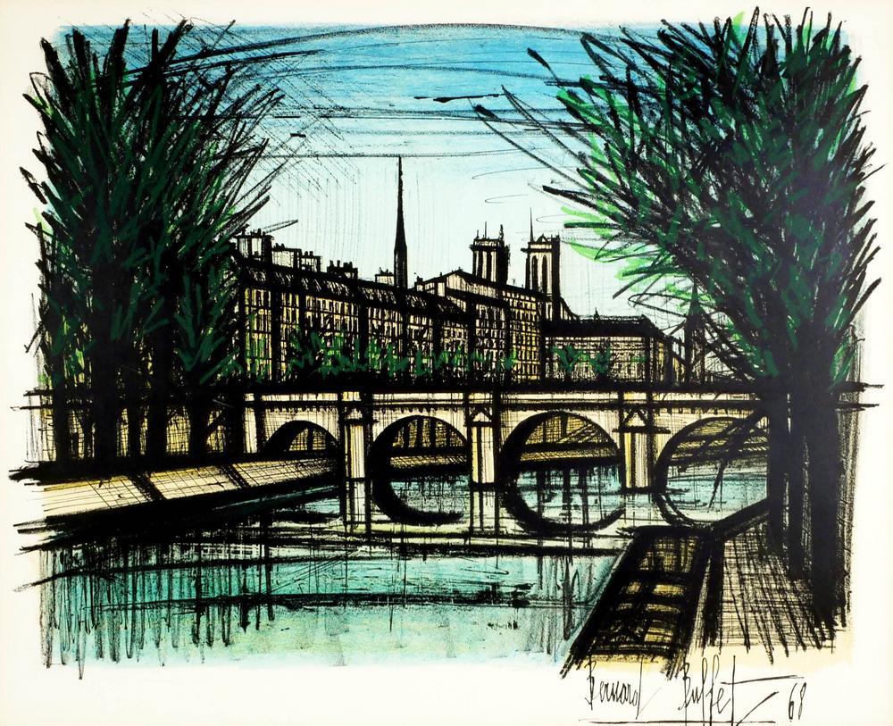 Strange Bernard Buffet Lithograph Paris Bridge Beutiful Home Inspiration Ponolprimenicaraguapropertycom