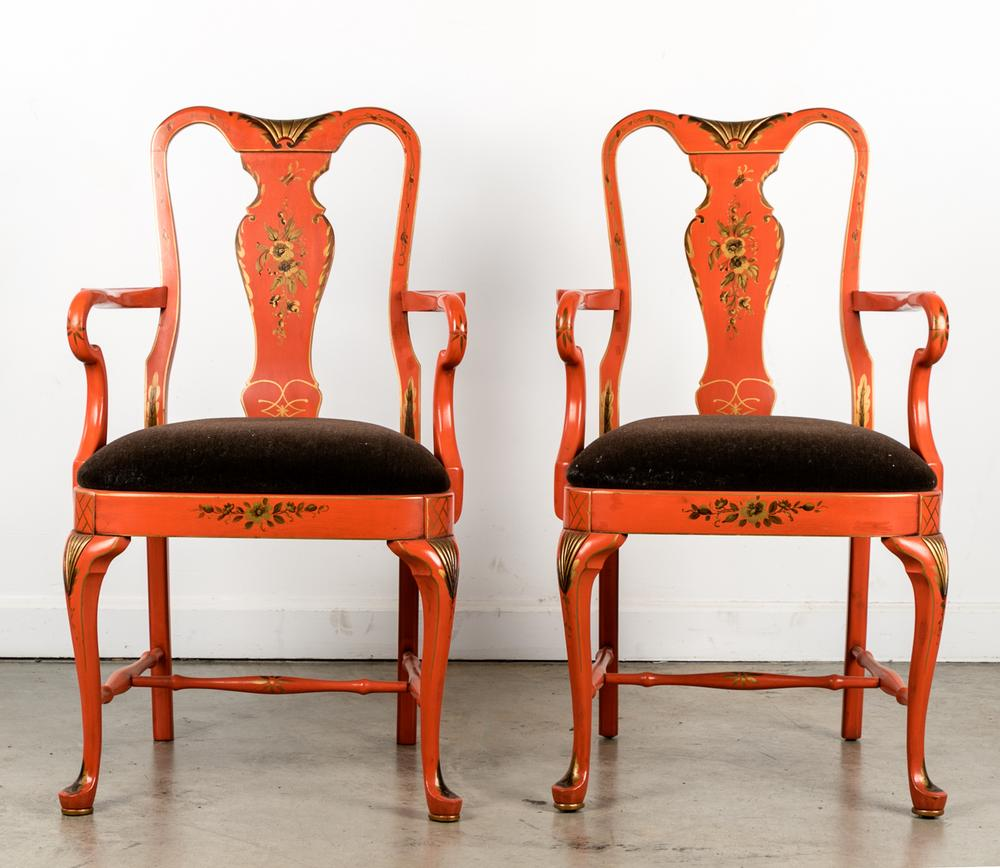 Pair Orange Tole Painted Queen Anne