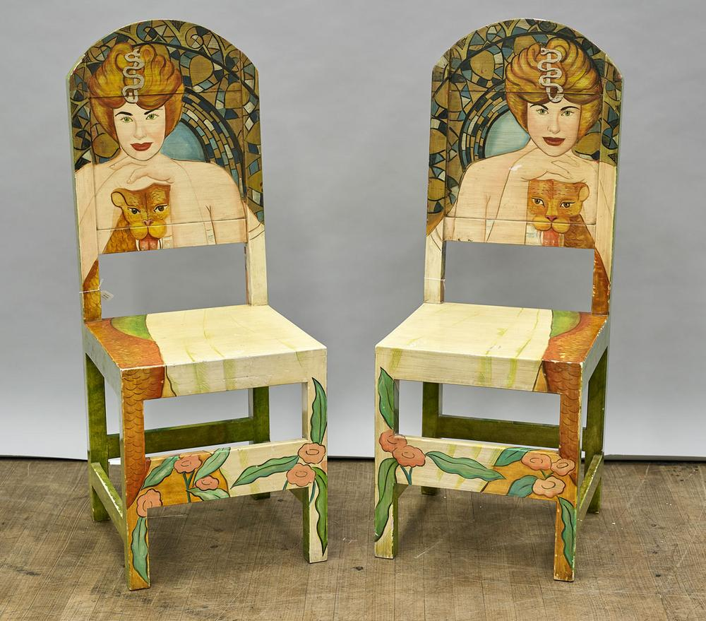 Pair Mexican Painted Wood Chairs