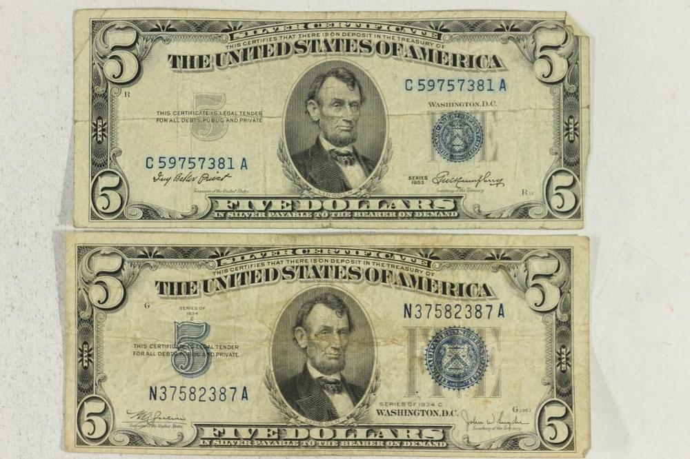 1934-C & 1953 $5 SILVER CERTIFICATES BLUE SEALS – Lofty Marketplace