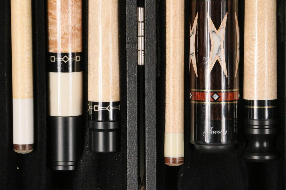 (2) CUSTOM SIGNED JACOBY POOL CUES IN ONE CASE