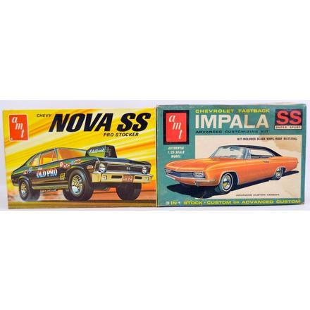 Two AMT junkyard model kits Nova SS pro stocker Impala SS