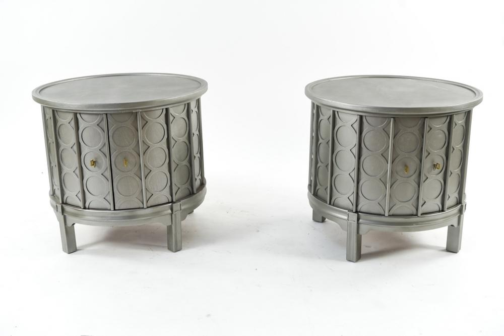 Pair Of Silver Painted Drum End Tables