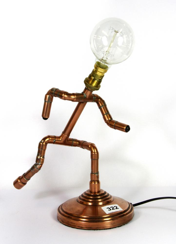 Running Man Table Lamp Made From Copper