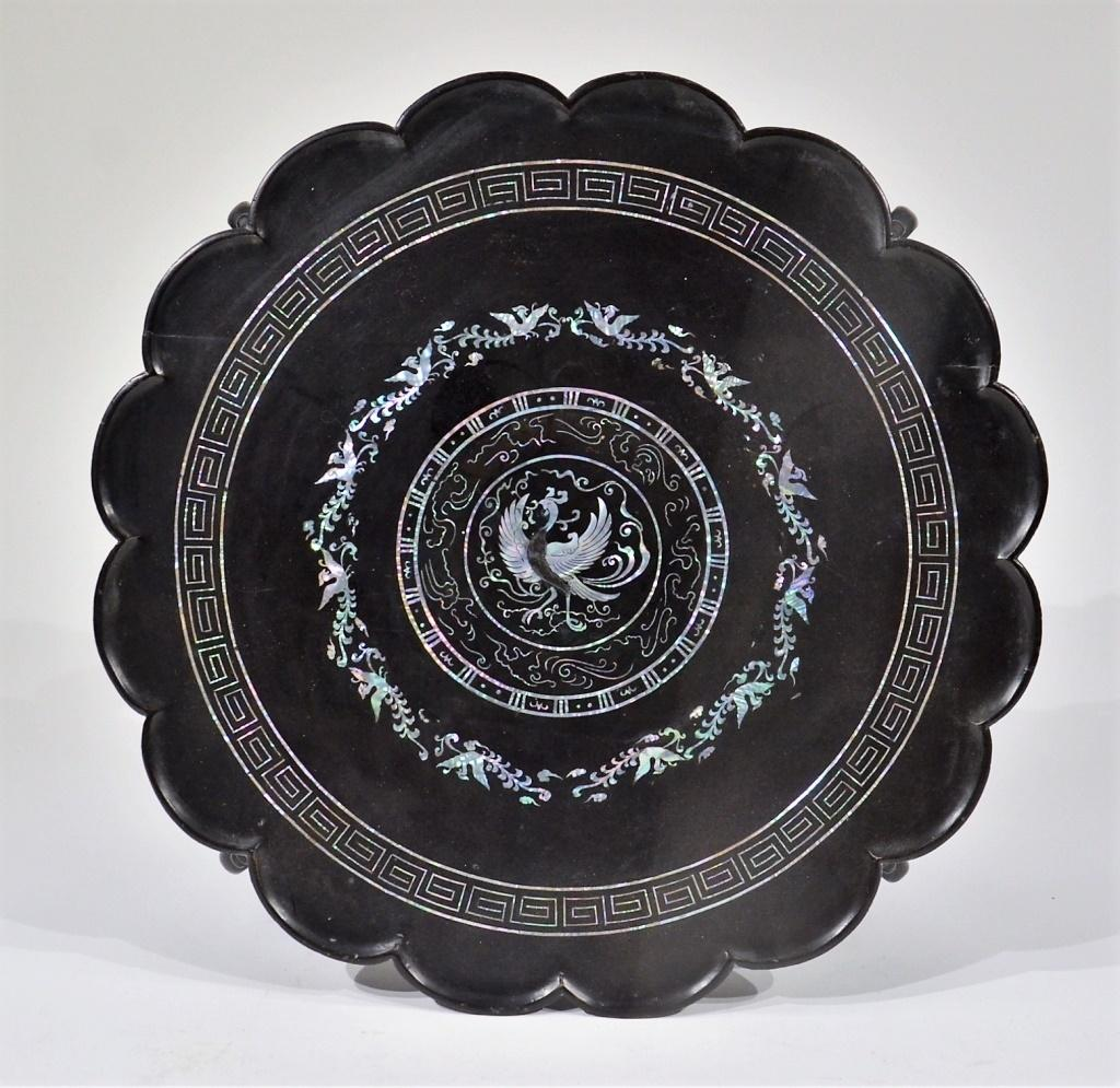 Korean MOP Inlaid Black Lacquer Tea Table