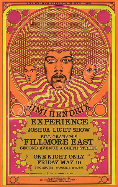 Rare Original AOR 290 Fillmore East Jimi Hendrix Poster