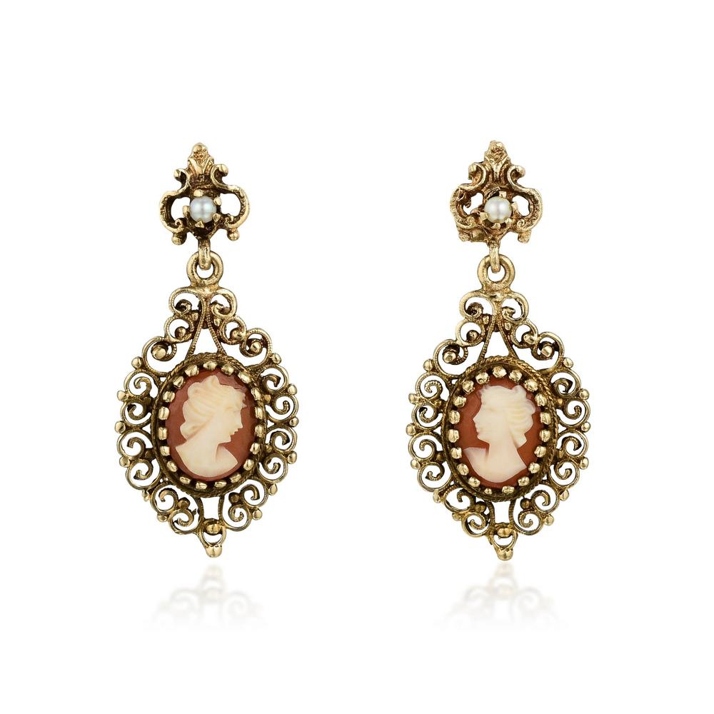 A Pair Of 14k Gold Cameo Earrings