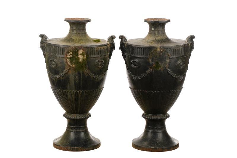 Large Cast Iron Garden Urns With Flambeau Finials U2013 Lofty Marketplace