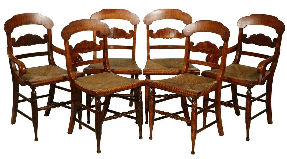 the best attitude 5f86a 911cf (6) COUNTRY SHERATON TIGER MAPLE DINING CHAIRS