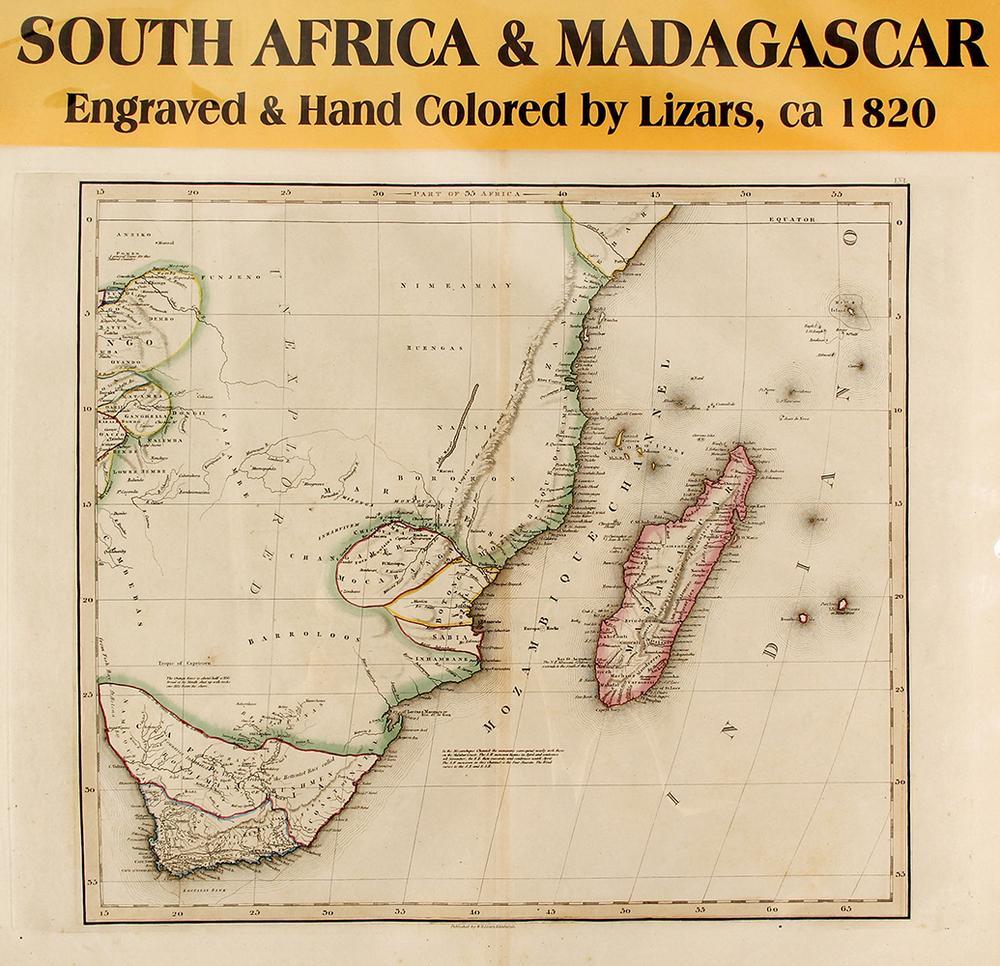 Map Of South Africa Madagascar C 1820 Lofty Marketplace