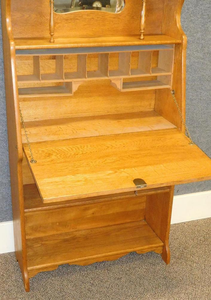 Antique C 1900 Larkin Oak Slant Front Secretary Desk W Bookcase Be Lofty Marketplace