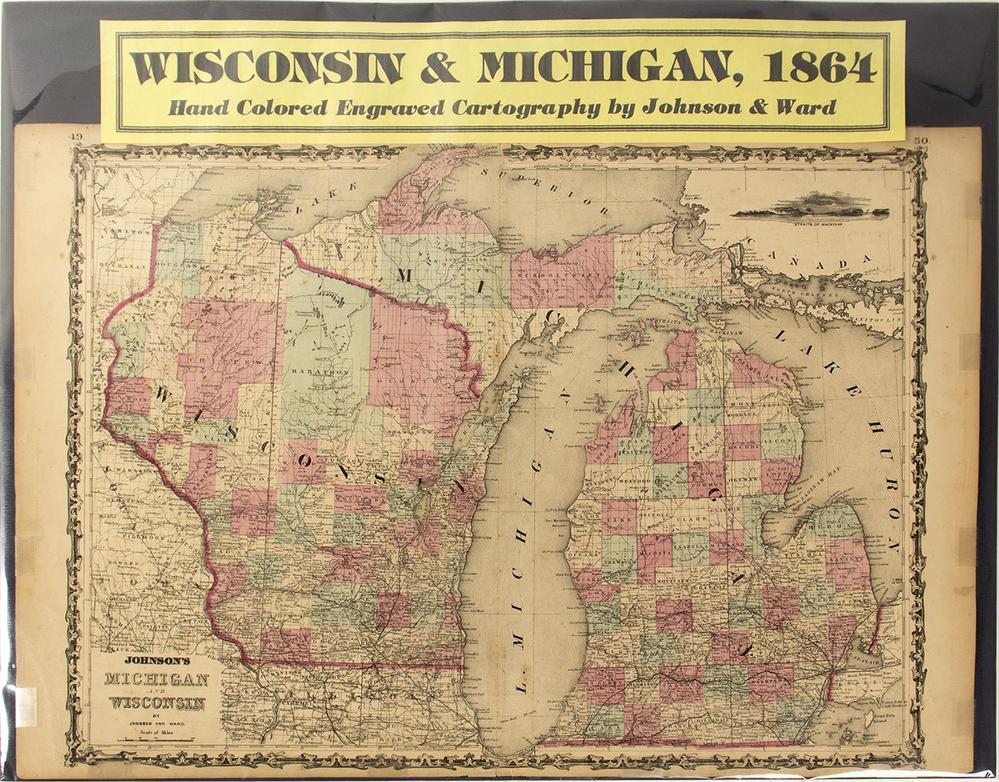 Michigan And Wisconsin Map.Map Of Wisconsin Michigan 1864 Lofty Marketplace
